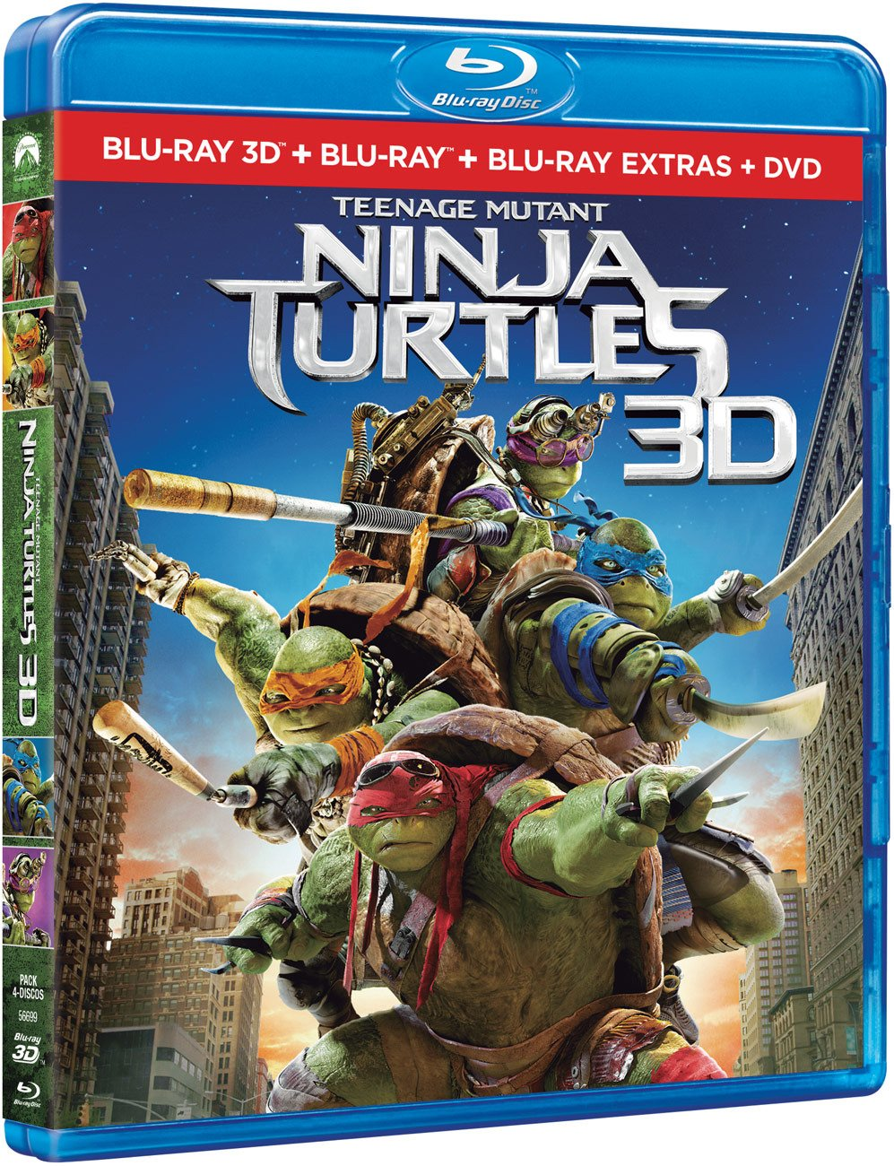Ninja Turtles BD 3D + BD + BD Extras + DVD Blu-ray: Amazon ...