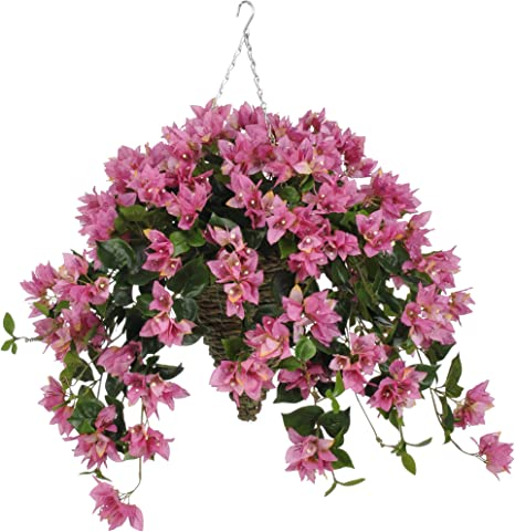House Of Silk Flowers Artificial Orchid Pink Bougainvillea In Beehive Hanging Basket Home Kitchen