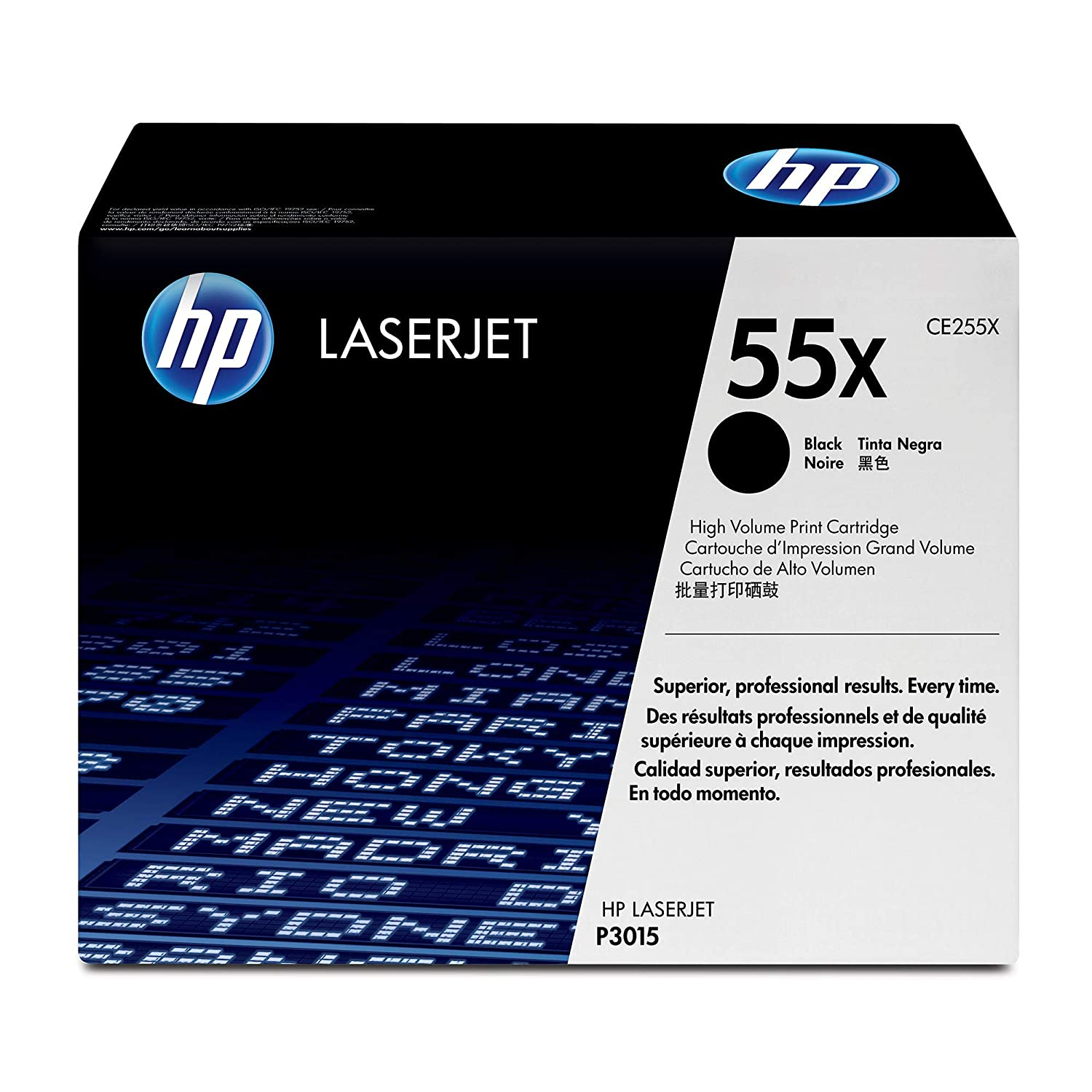HP 55X (CE255X) Black High Yield Toner Cartridge for HP LaserJet Enterprise 525 P3015 HP LaserJet Pro M521