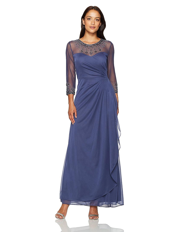 Alex Evenings Womens Petite Long A-line Illusion Sweetheart Neck Dress Dress