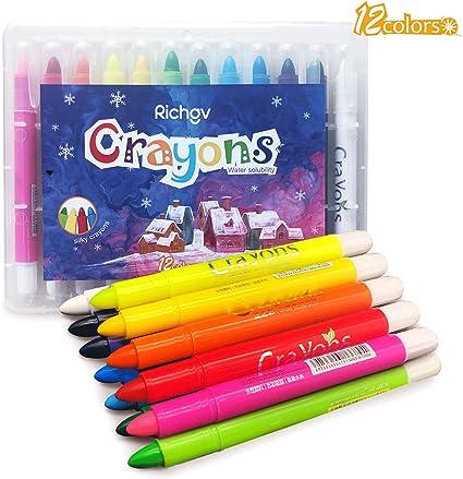 12colors Crayons Set of 12 Gel Crayons Art Supplies Colors for Kids//Toddlers//preschooler