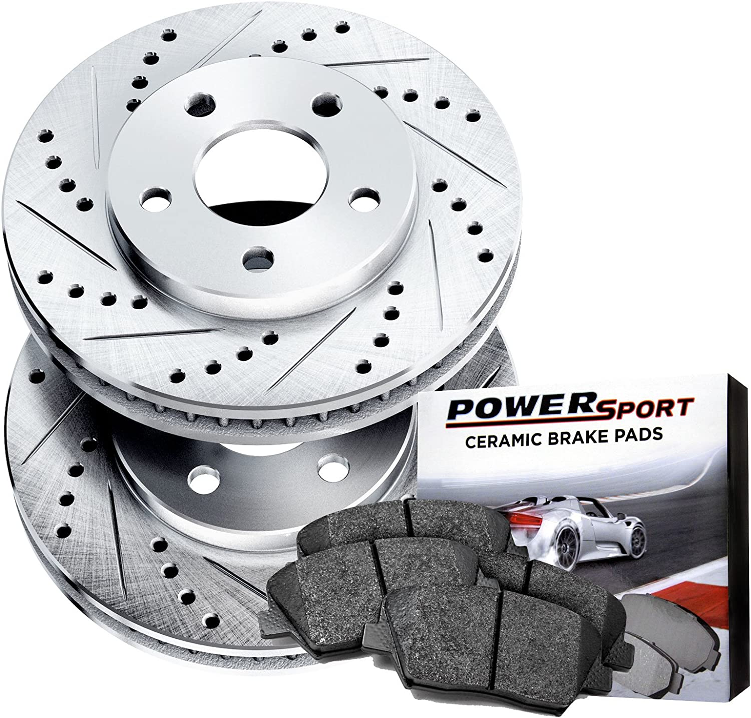 80973 FRONTS Power Sport Cross Drilled Slotted Brake Rotors and Ceramic Brake Pads Kit