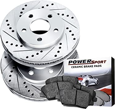 Front /& Rear Power Sport Cross Drilled Slotted Brake Rotors and Ceramic Brake Pads Kit 80775