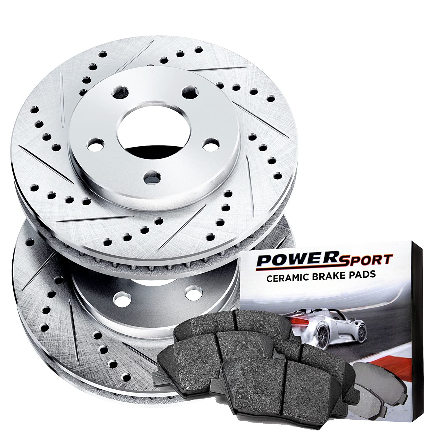 Power Sport Cross Drilled Slotted Brake Rotors and Ceramic Brake Pads Kit -80749 [FRONTS] R1 Concepts
