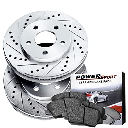 What Are Rotors On A Car >> Power Sport Cross Drilled Slotted Brake Rotors And Ceramic Brake Pads Kit 81018 Fronts