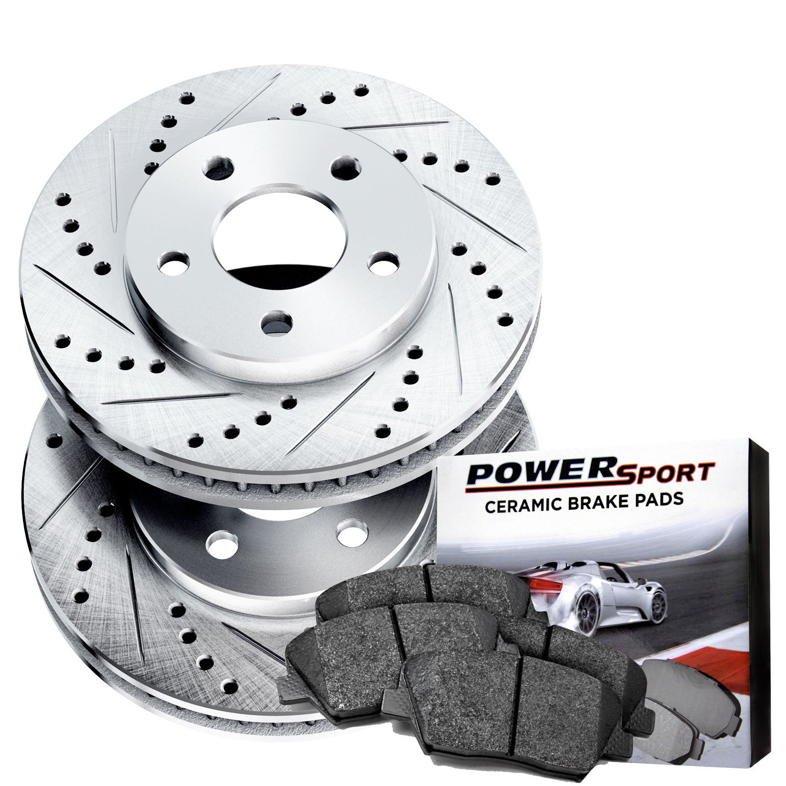Power Sport Cross Drilled Slotted Brake Rotors and Ceramic Brake Pads Kit -80232 [FRONTS]