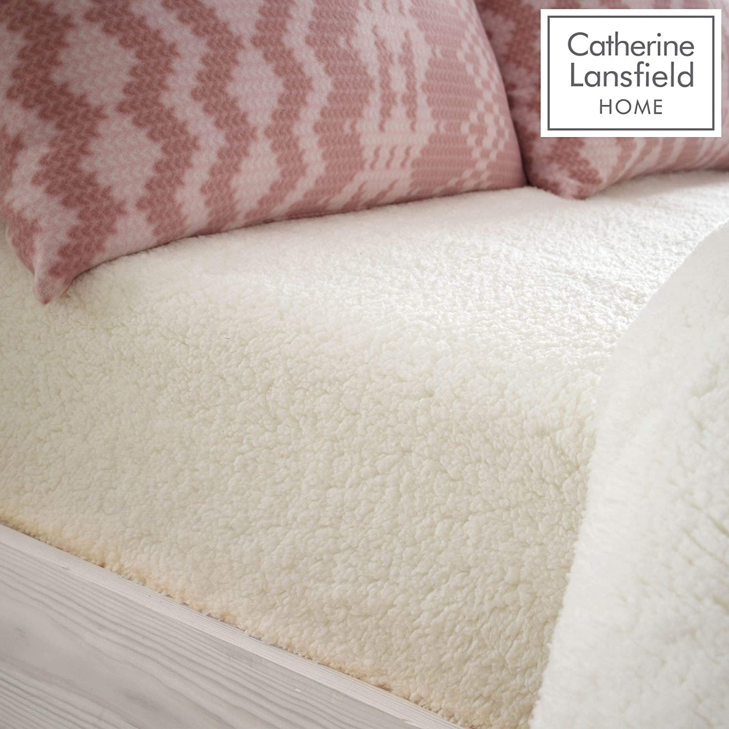 Catherine Lansfield So Soft Sherpa Double Fitted Sheet Cream
