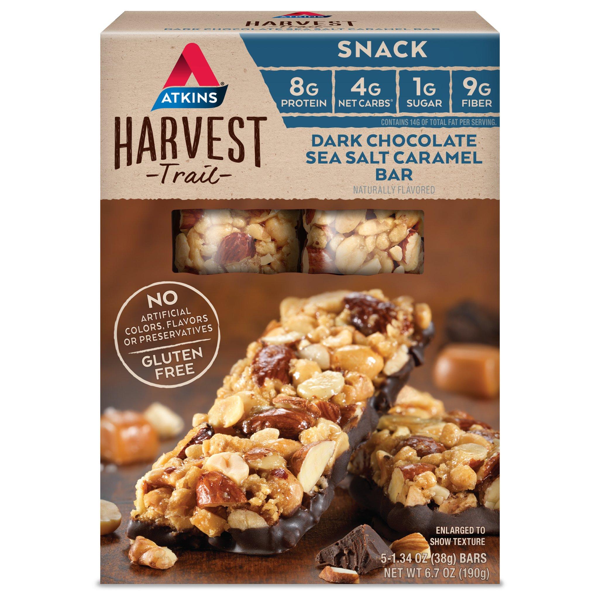 Atkins Gluten Free Harvest Trail Snack Bar, Dark Chocolate Sea Salt Caramel, Keto Friendly, 5 Count by Atkins