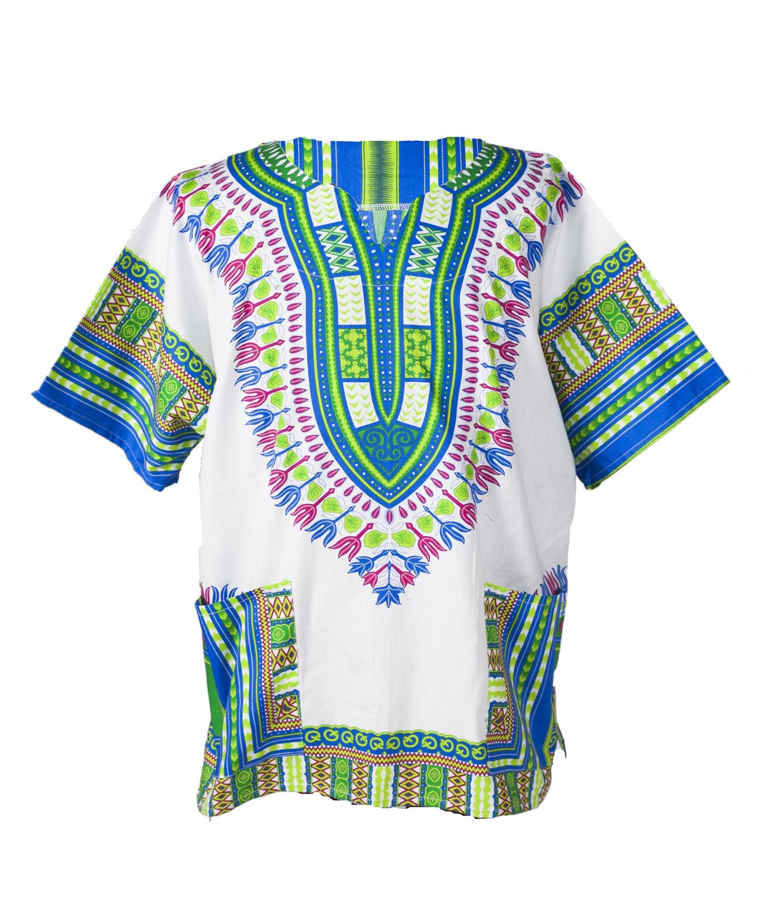 Lofbaz Traditional African Print Unisex Dashiki Size XXL White and Royal Blue