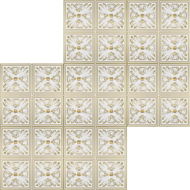 Sparpaket Plaques en Polystyr/ène Couverture D/écoration Plaques 50x50cm Nr.05 Blanc-Or 20 M /²//80 Plaques