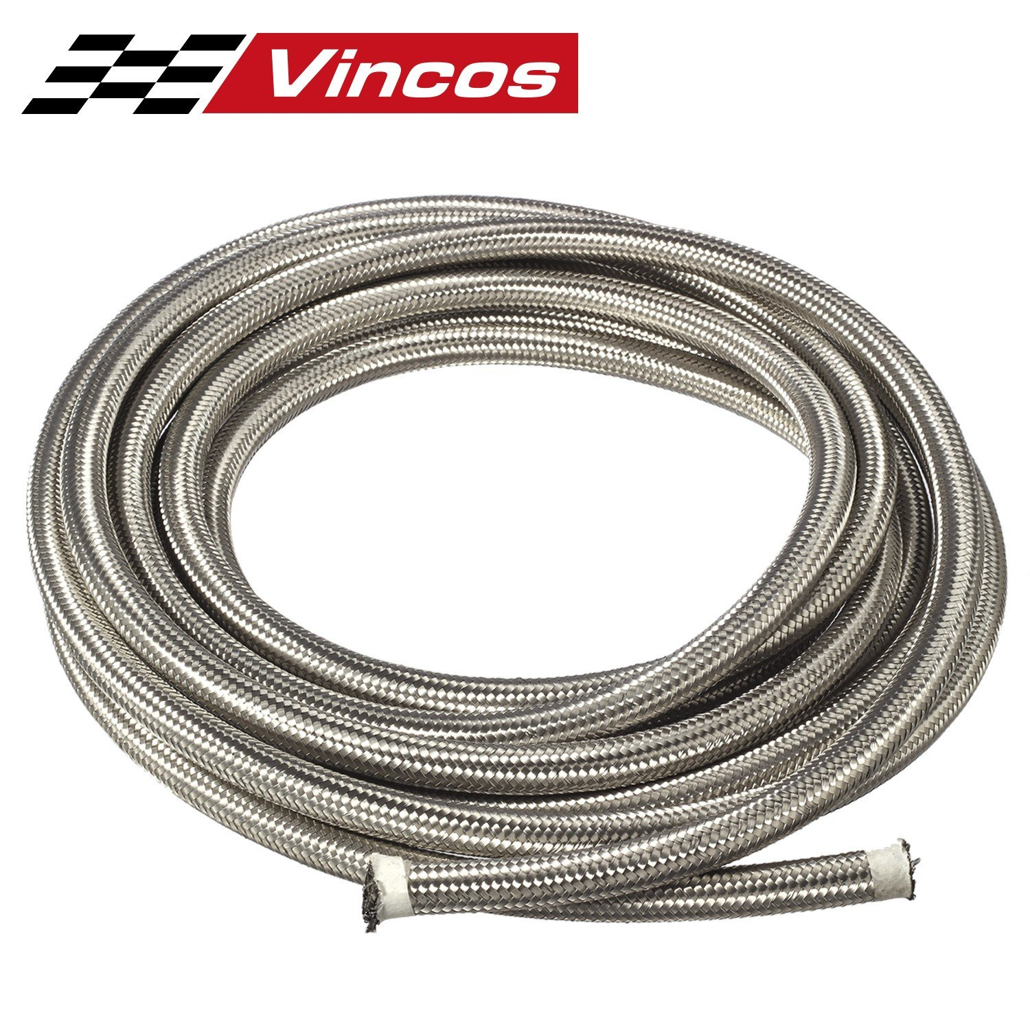 20 Ft 6AN AN6 (3/8') Universal Braided Stainless Steel CPE Oil Fuel Gas Line Hose PartsSquare
