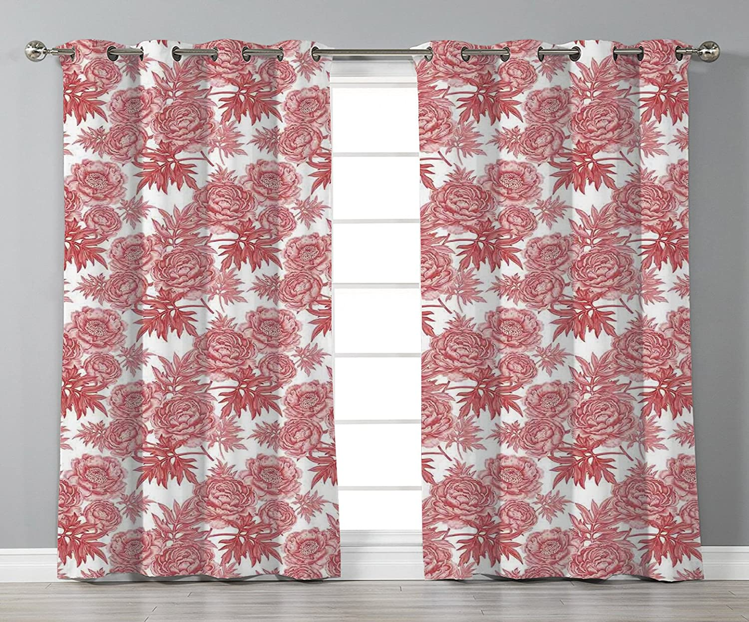 Thermal Insulated Blackout Grommet Window Curtains,Victorian Decor,Vibrant Vivid Color Garden Flower and Peonies Bouquet Illustration Old England Style,White Red,2 Panel Set Window Drapes,for Living R