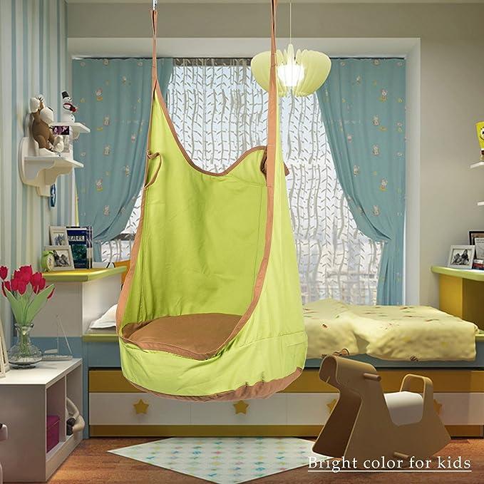 Verde CO-Z Sedia Sospesa per Bambini Swing Amaca Appesa Forte e Resistente con Cuscino Gonfiabile per Esterno Interno Patio Giardino Carico Massimo 80kg