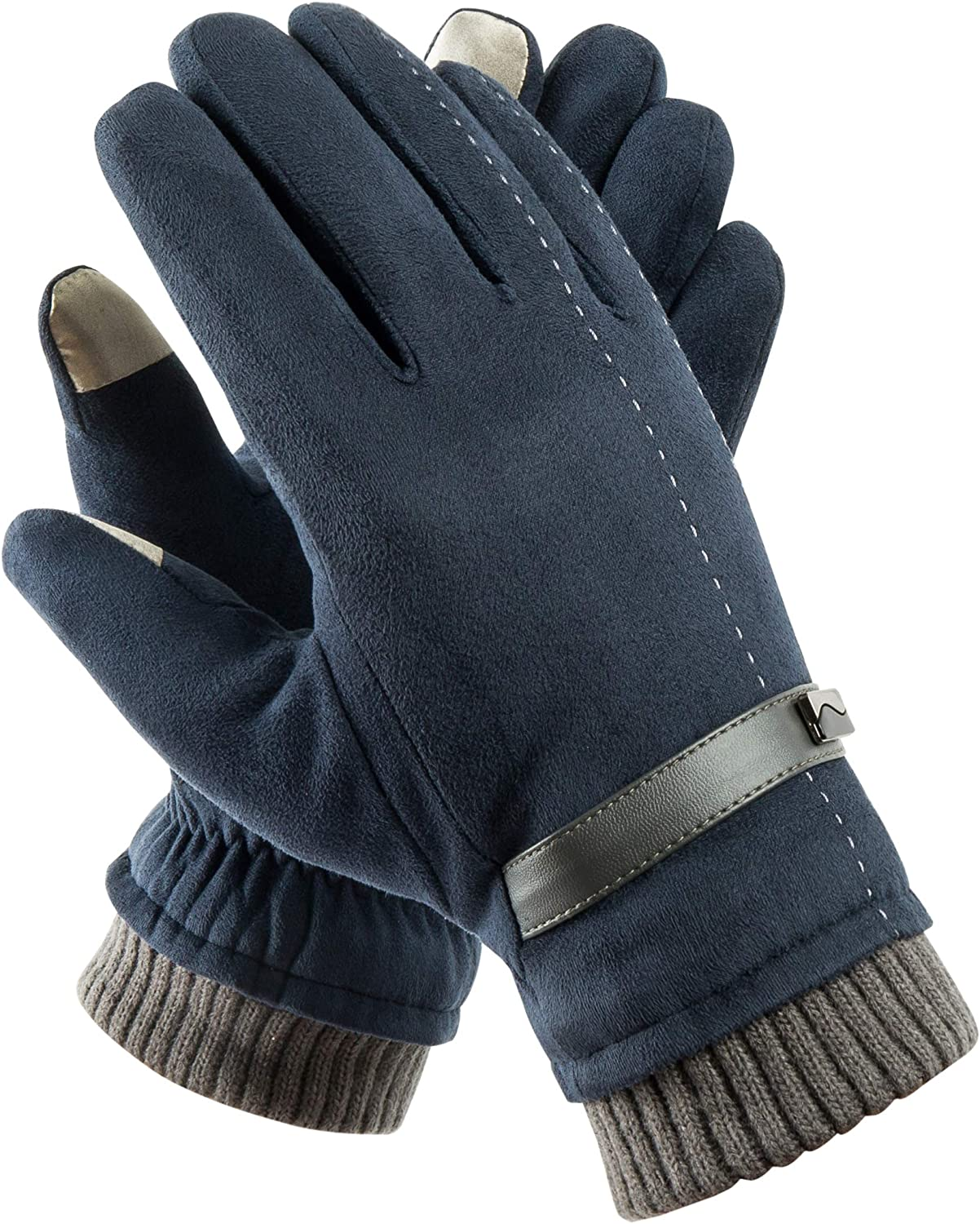 Men Touch Screen Leather Winter Warm Gloves Thermal Fleece Lined Driving Gift