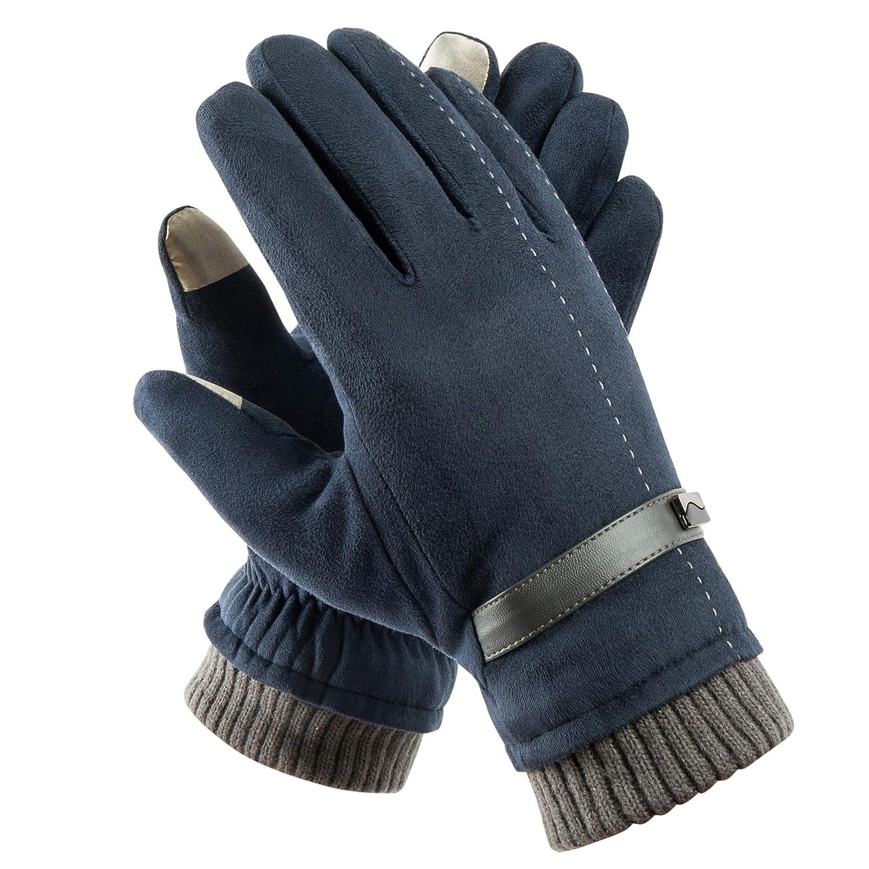 Acdyion Herren Winter Touchscreen Handschuhe Outdoor 2018 Neues Design Super Soft Wildleder Handschuhe Outdoor Fahrradhandschuhe für Dickes Fleece-Futter