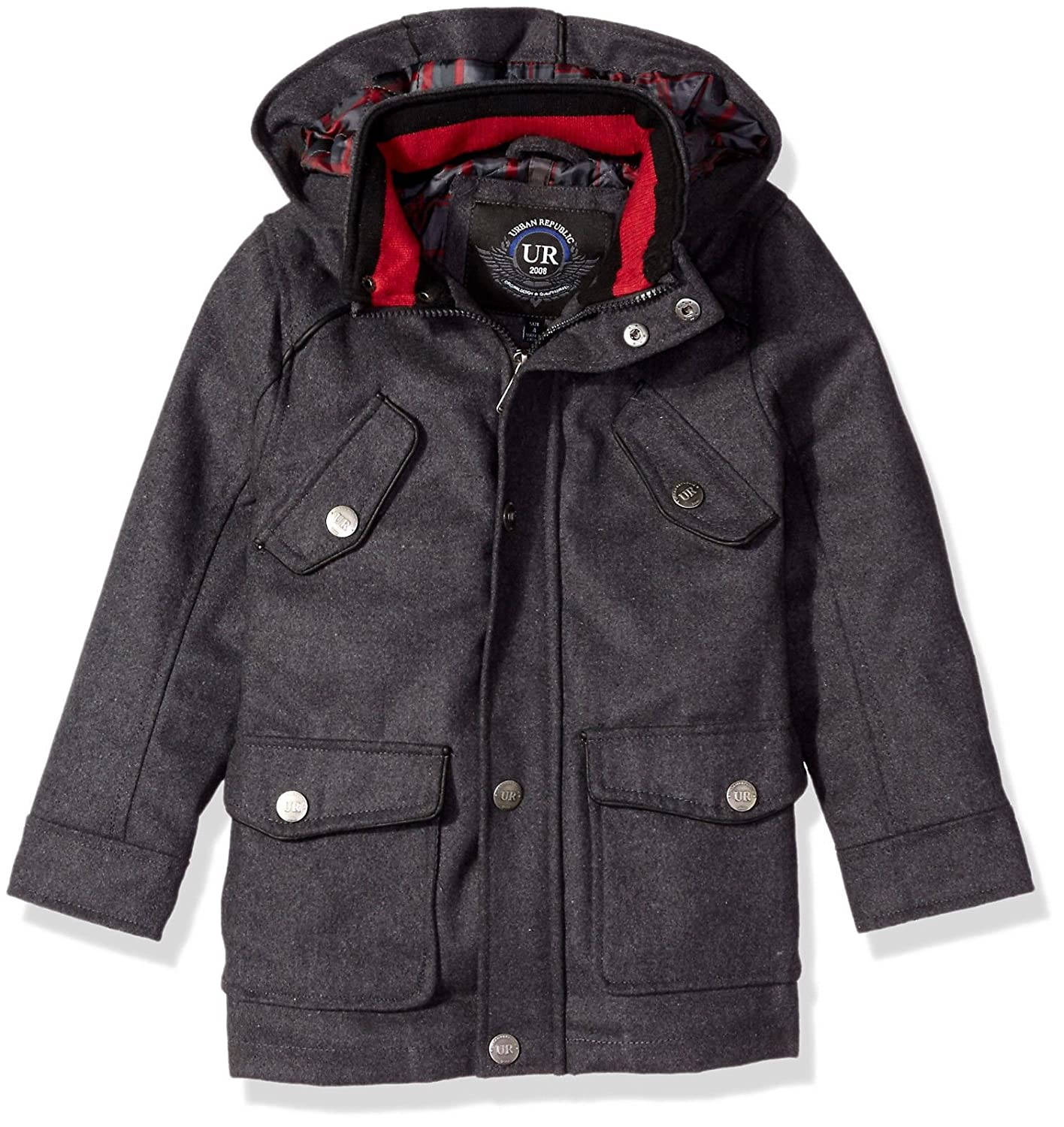 Urban Republic Boys' Wool Miltary Coat Charcoal