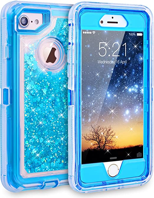 Dexnor iPhone 7 Case, iPhone 6S Case, Glitter 3D Bling Sparkle Flowing Liquid Case Transparent 3 in 1 Shockproof TPU Silicone Core PC Frame Case ...
