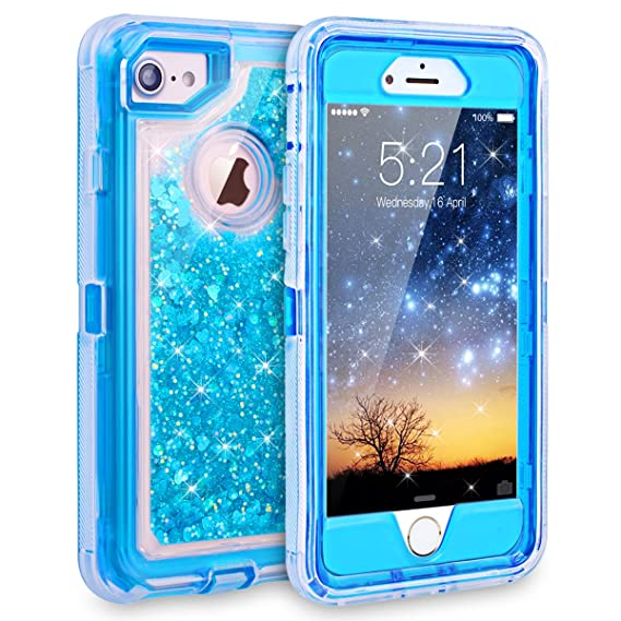 the latest 139ea 063f0 iPhone 7 Case, iPhone 6S Case, Dexnor Glitter 3D Bling Sparkle Flowing  Liquid Case Transparent 3 in 1 Shockproof TPU Silicone Core + PC Frame Case  ...