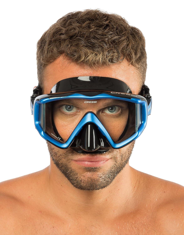 Cressi Triside DS455020 Masque de Plong/ée /à Trois Verres pour Adultes Noir//Bleu Uni CRESX|#Cressi Sub S.p.A