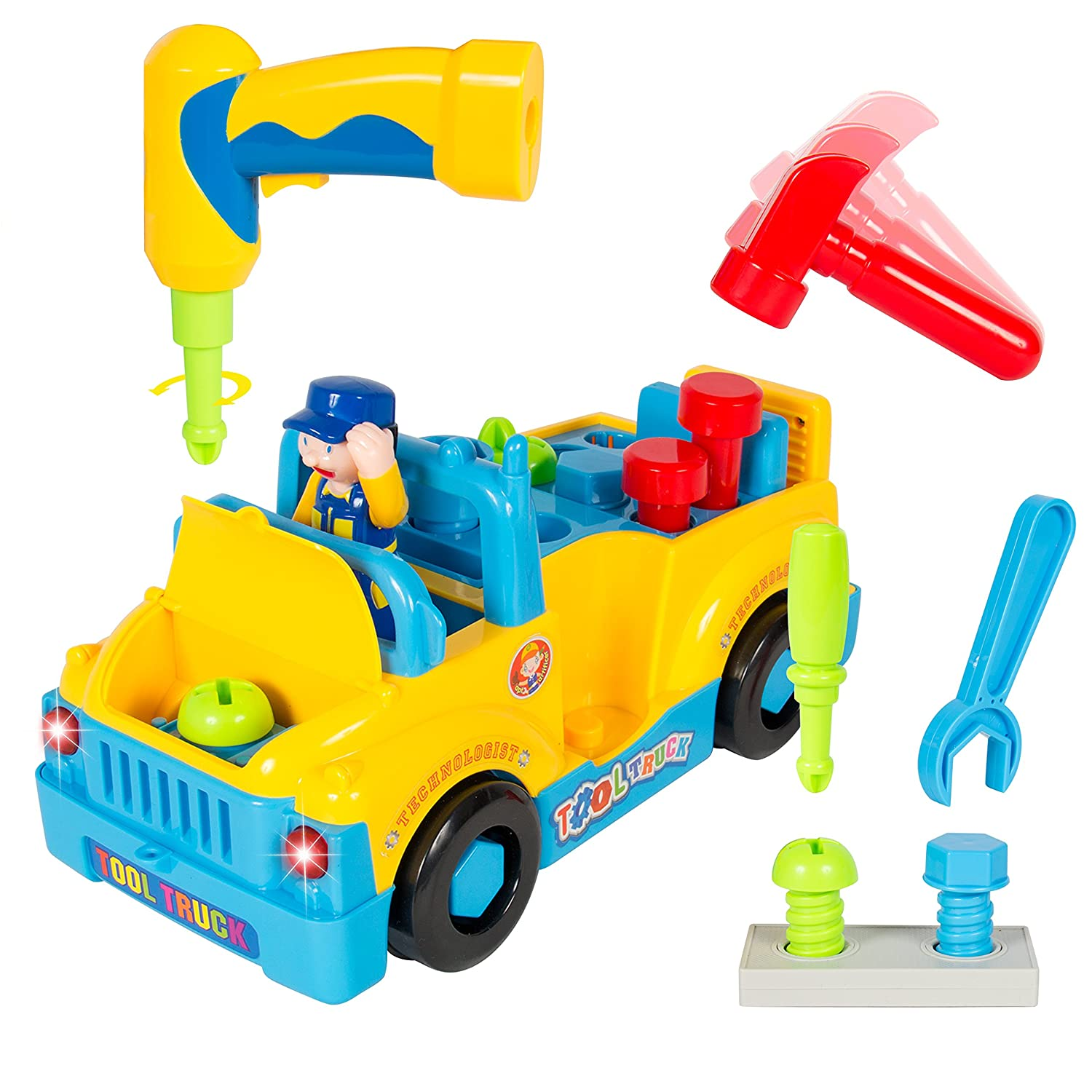 amazon com bump u0027n u0027go toy truck with electric drill and various