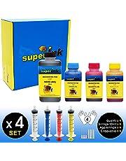 【(S) Kit Small-4】Kit Inchiostri superInk (dye) per tutte le stampanti inkjet HP 1x250ml NERO + 3x100ml (CIANO + MAGENTA + GIALLO) + 4 set di accessori (guanti, siringhe, aghi)