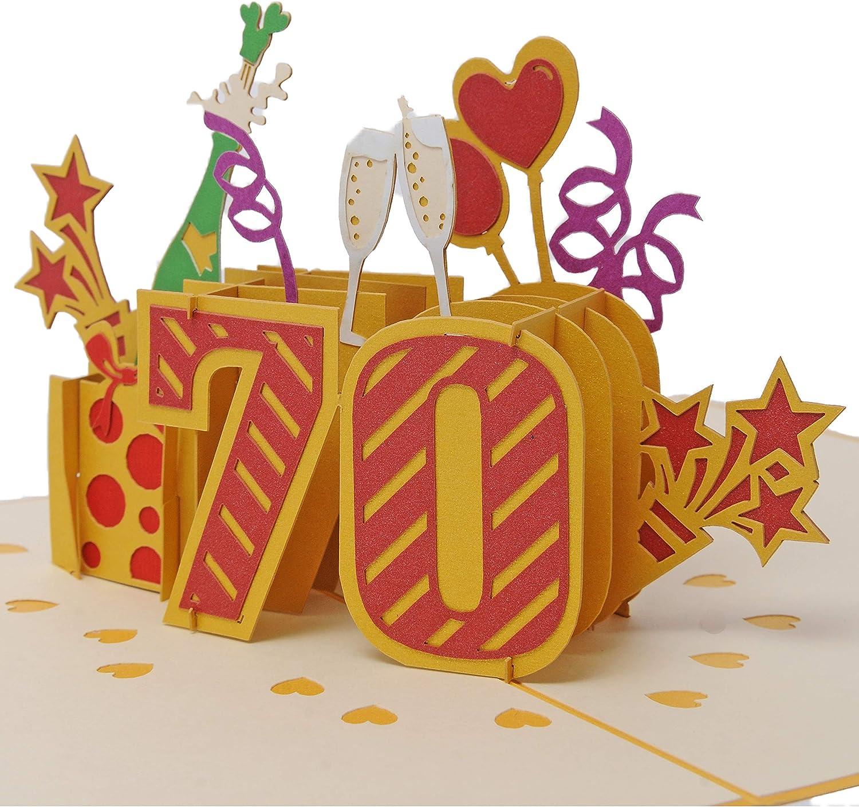 Favour Biglietto di auguri pop-up per 70/° compleanno ideale anche come regalo per denaro o buono TG070 con copertina dorata rotondo