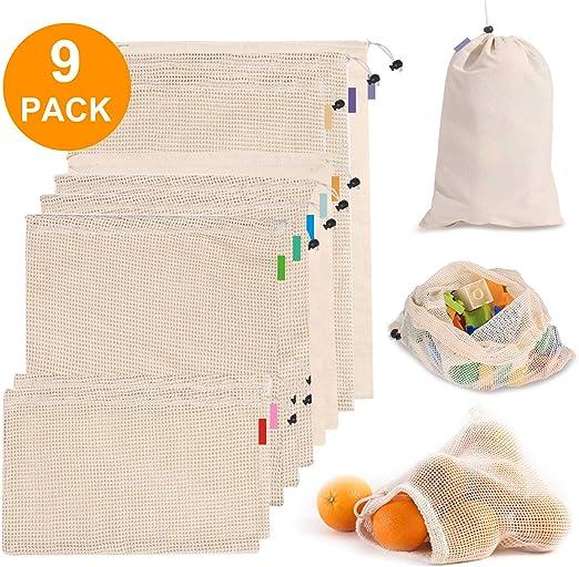 9 bolsas reutilizables de malla de algodón, bolsas lavables para ...