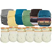 GroVia Hybrid Part Time Package: 6 Shells + 12 No Prep Soaker Pads (Color Mix 9 - Hook & Loop)