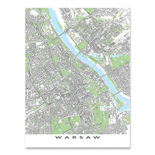 Warsaw Europe Map.Amazon Com Warsaw Map Print Poland City Street Art Europe Handmade