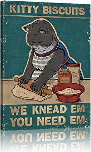 Retro Kitty Biscuits Vintage Aluminum Sign Canvas Prints Wall Decor We Knead Em Home Coffee Wall Art Black Blue Cat Pictures for Living Room Decoration Bedroom Office Ready to Hang 12 x 16 inch