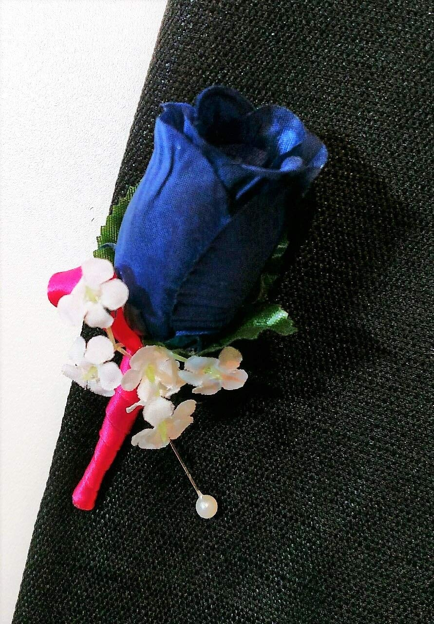 Navy-Blue-Marine-Rose-Hot-Pink-Begonia-Ribbon-Boutonniere-Wedding-Or-School-Prom-Flowers-Boutonnieres-Corsages
