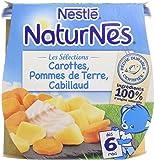 Nestlé Bébé Naturnes Les Sélections Carottes, Pommes de Terre, Cabillaud - Plat Complet dès 6 Mois - 2 x 200g - Lot de 6