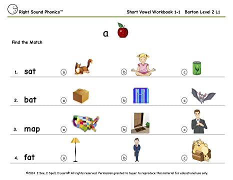 Workbook free phonics worksheets : Amazon.com: Short Vowel Workbook 1 - Right Sound Phonics: Toys & Games