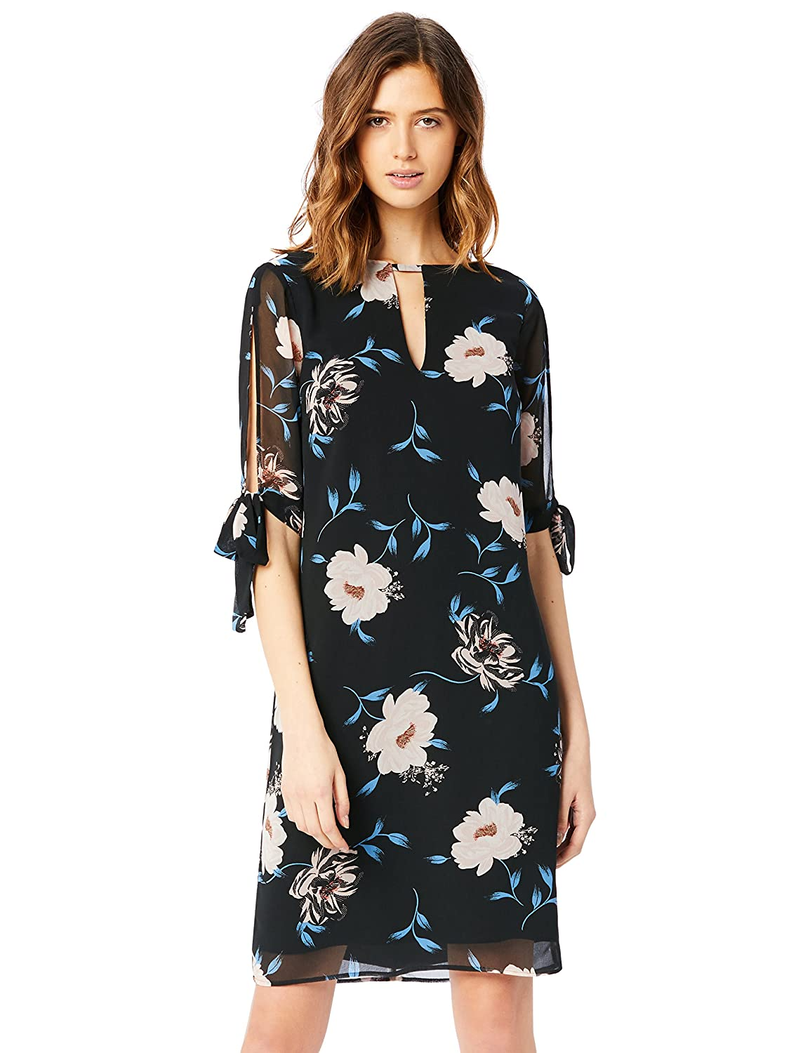 TALLA 40 (Talla del Fabricante: Medium). Marca Amazon - TRUTH & FABLE Vestido Evasé de Gasa Mujer Multicolor (Print) 40 (Talla del fabricante: Medium)