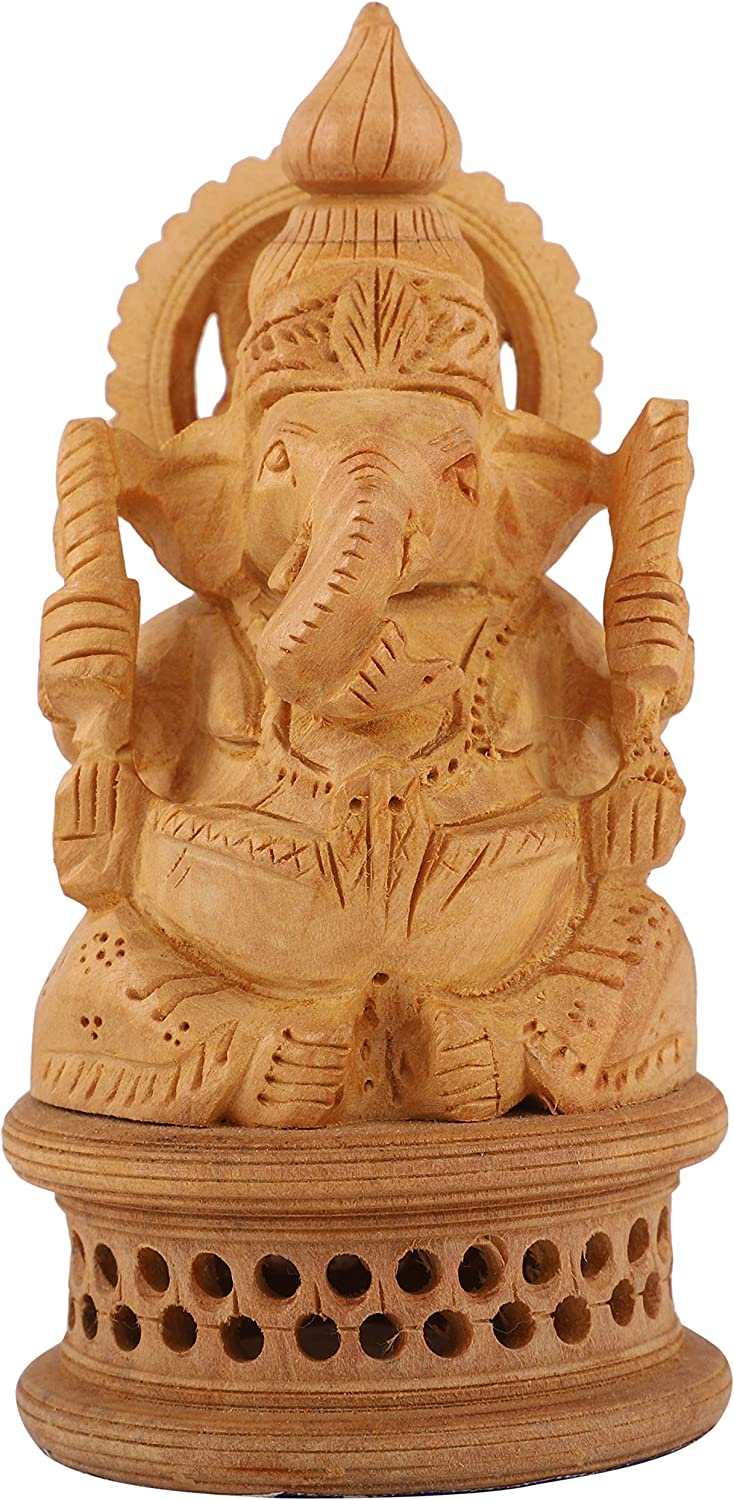 DHYANARSH Wooden Ganesh Idol - Hand Carved Lord Ganesha Wood Sculpture - God of Prosperity and Fortune