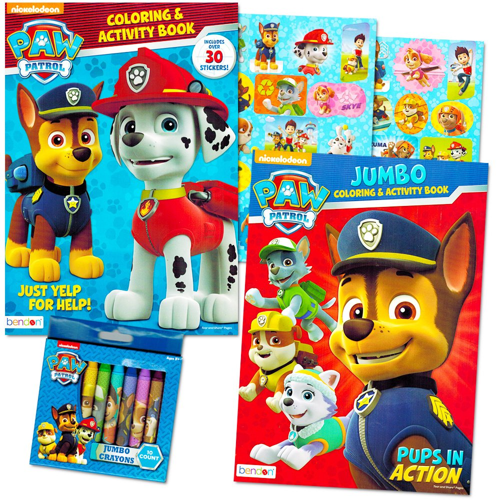 amazoncom paw patrol coloring book super set 2 coloring and activity books over 30 stickers and jumbo toddler paw patrol crayons toys games - Paw Patrol Coloring Book
