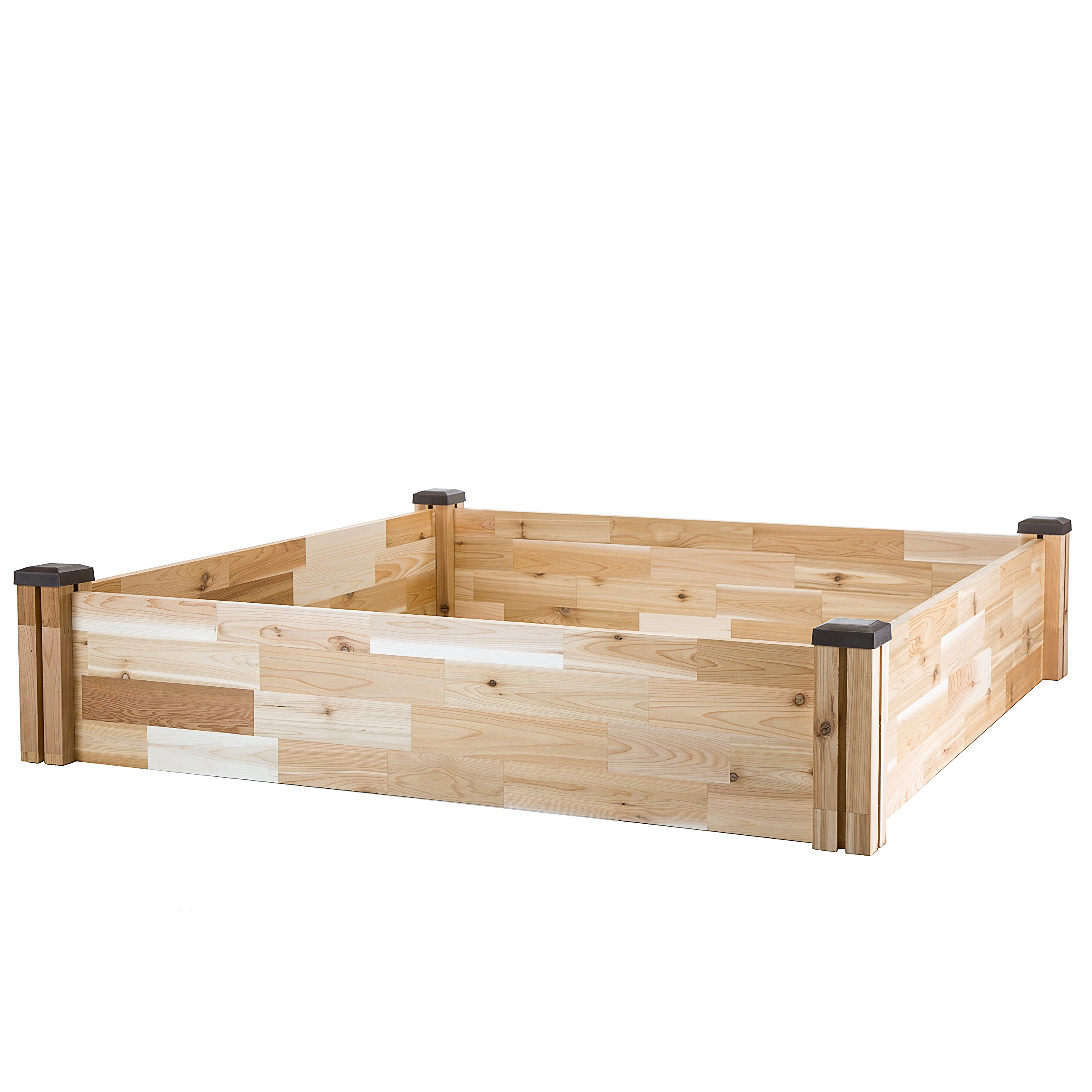 CedarCraft Raised Cedar Garden Bed (49'' X 49'' X 10''H) - Grow Fresh Vegetables, Herb Gardens, Flowers & Succulents. Beautiful Elevated Garden Bed for Your Yard and Home Gardening. No Tools Required.