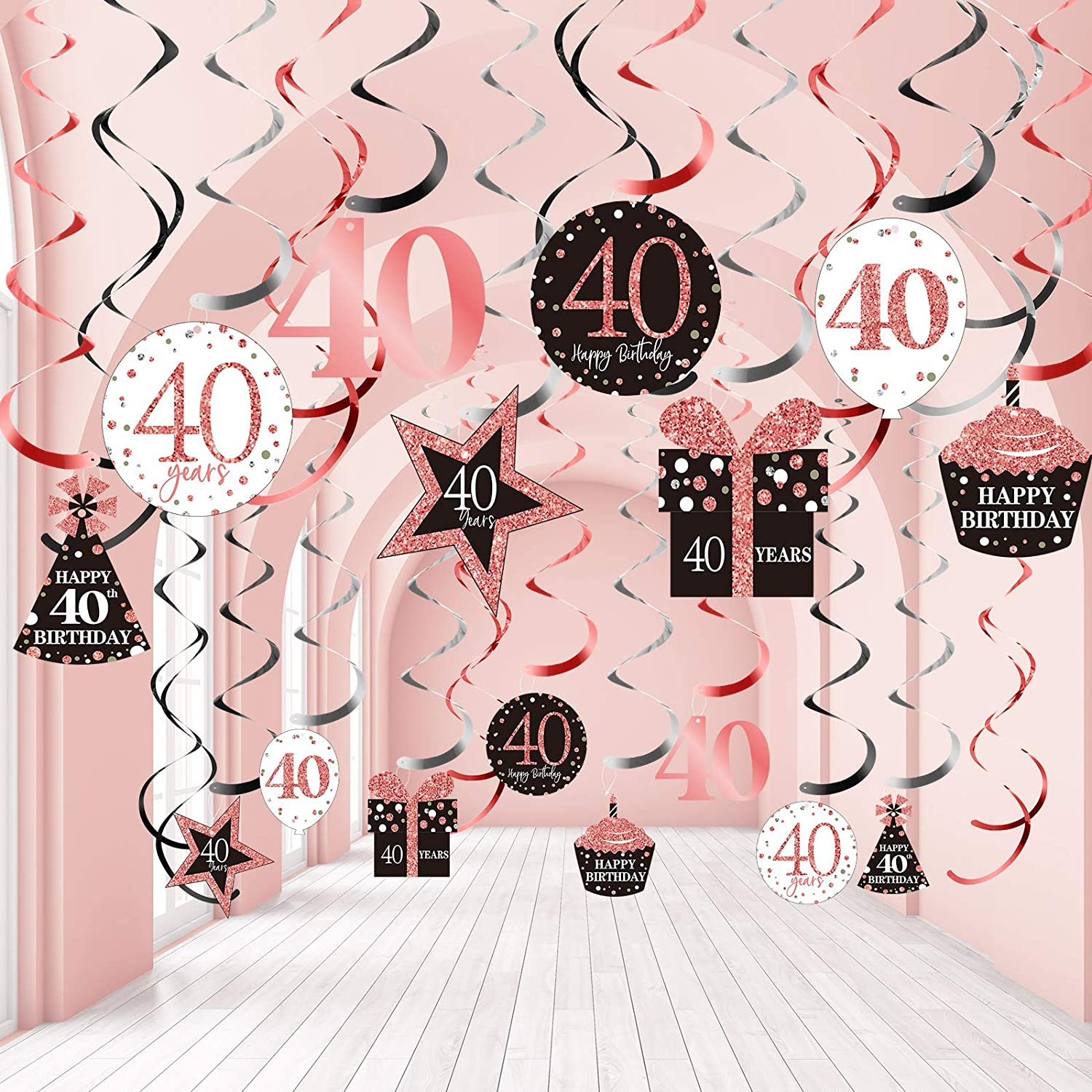 Blulu 40th Birthday Party Decorations, 40th Birthday Party Rose Gold Hanging Swirls Ceiling Decorations Shiny Foil Swirls for 40th Birthday Decorations 40 Years Old Party Supplies 30 Count