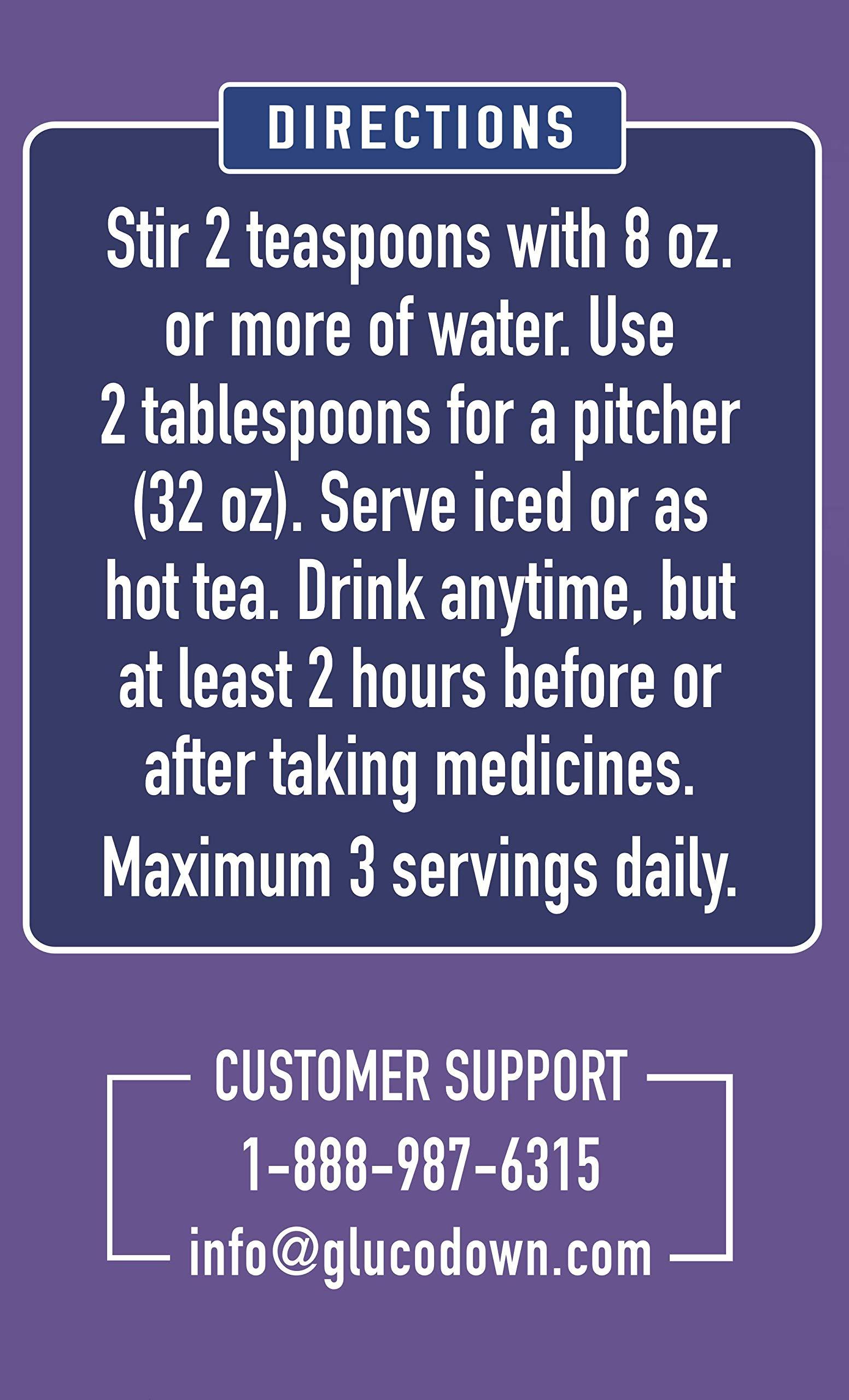 GLUCODOWN Super Berry Tea Mix, Diabetic Friendly Formula.