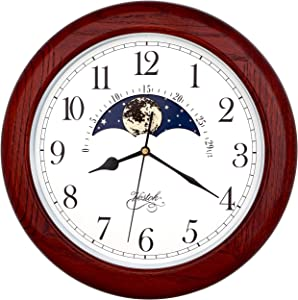 Justime 14 Inch Exclusive Solid Oak Wood Non-Ticking Sweep Mechanical Specialty Moon Phase Moving Dial Wall Clock, Gift, Home Décor (TCWS712-MD-RED Oak)