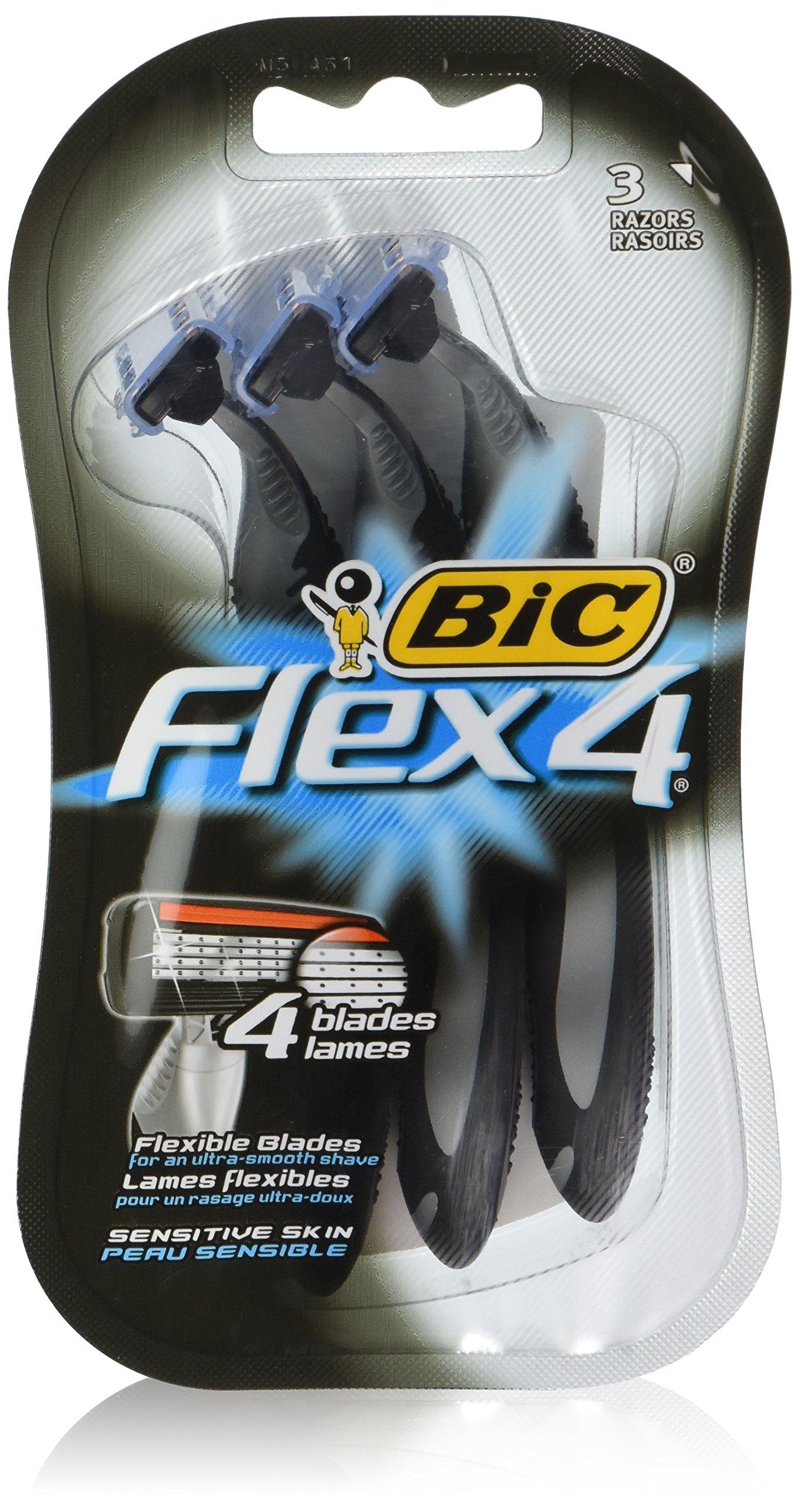 BIC Flex 4 Disposable Razor, Men, 3-Count (Pack of 3)