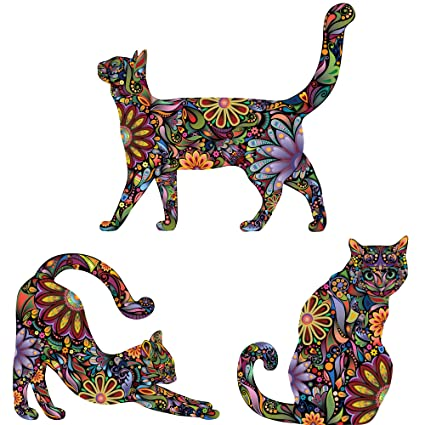 Amazon.com: My Wonderful Walls Repositionable Cat Wall Decals in Flower Pattern, Reversed, Small, Set of 3: Home & Kitchen