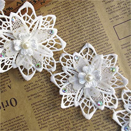 1m Vintage style Cotton crochet lace edge trim OFF WHITE  Ribbon Sewing Crafts