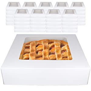 White Bakery Pie Boxes 45 Pk Professional Window Display Carrier for Baked Goods Cakes Cheesecakes Pies Brownies Cupcakes Desserts 10 Inches