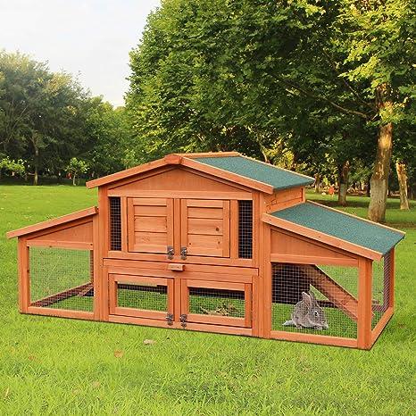 Amazon Com Merax 70 Inch Wooden Rabbit Hutch Outdoor Pet House