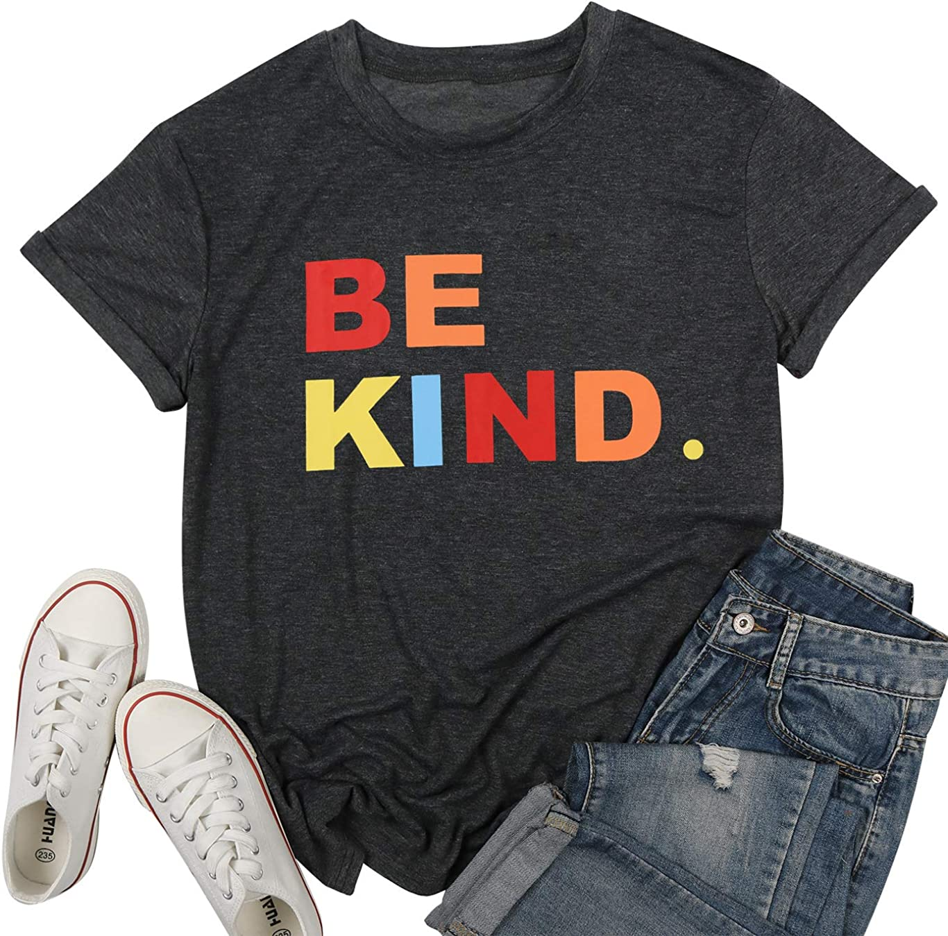 Be Kind Shirt Women Teacher T-Shirt Cute Colorful Tee Inspirational Blouse Summer Comfy Clothes