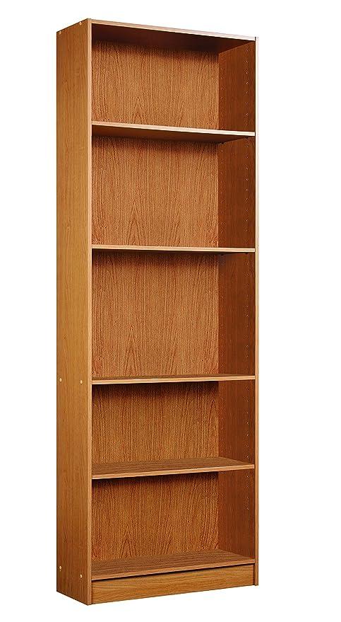 Bon Mylex Five Shelf Bookcase; Three Adjustable Shelves; 9.5 X 24.5 X 71.5  Inches,
