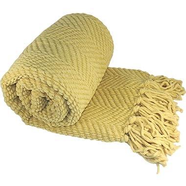 Home Soft Things Knitted Tweed Throw Blanket, 60  x 80 , Jojoba Yellow