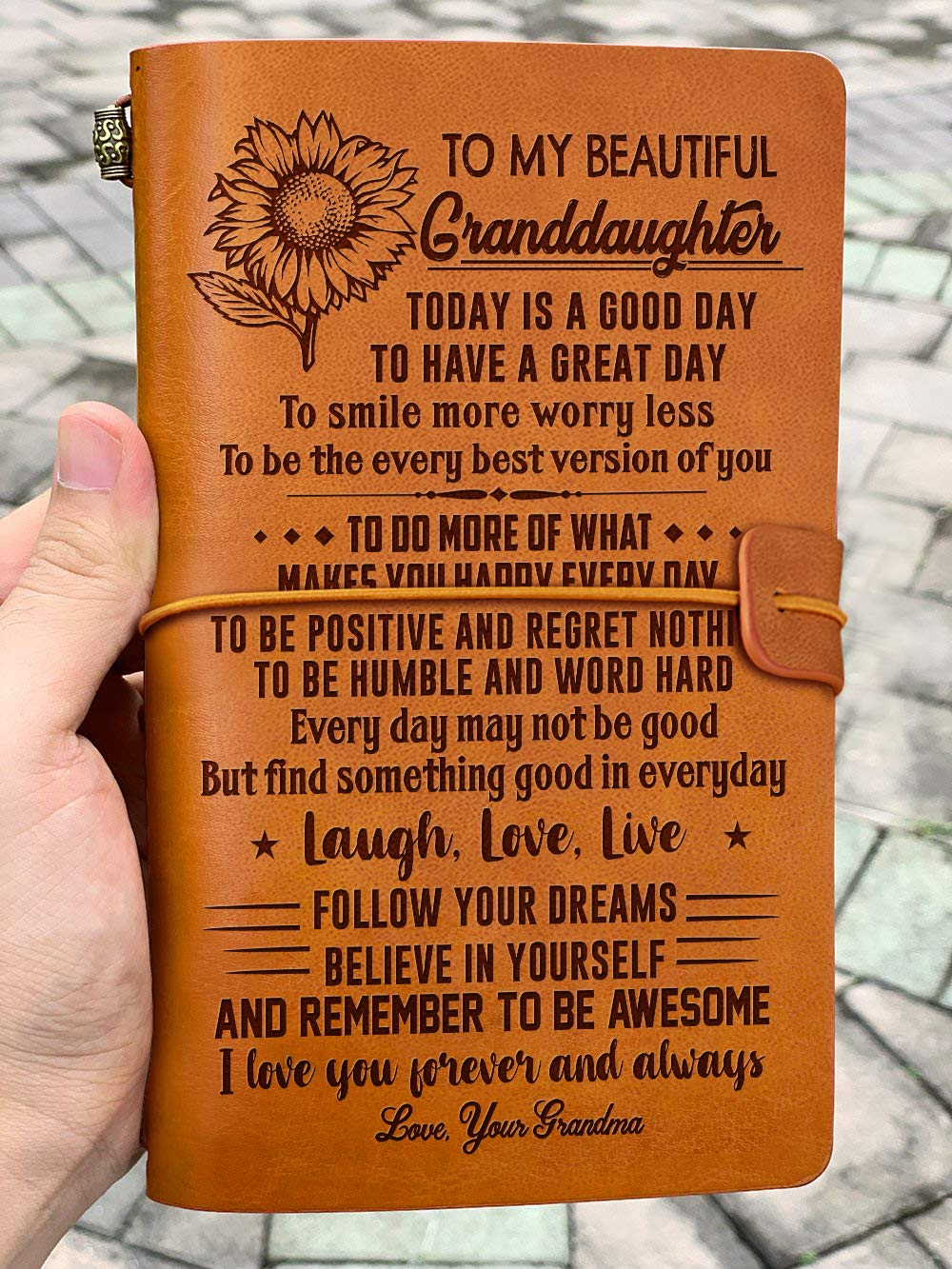 Leather Journal - Grandma To Granddaughter, Laugh Love Liv - Gift for Granddaughter, Gift from grandma, Birthday Gift, Moving Out Gifts, Gift for Students, Back to School Gifts UN262, 7.5''x4.7''