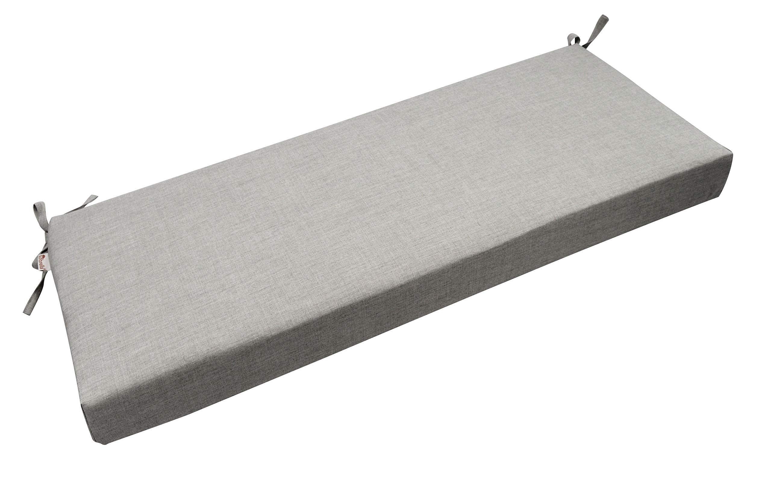 RSH Décor Indoor/Outdoor Bench Cushion Made from Premium Sunbrella Cast Silver Grey/Gray Fabric - 3'' Thick Foam Bench Pad with Ties - Choose Size (60'' x 18'')